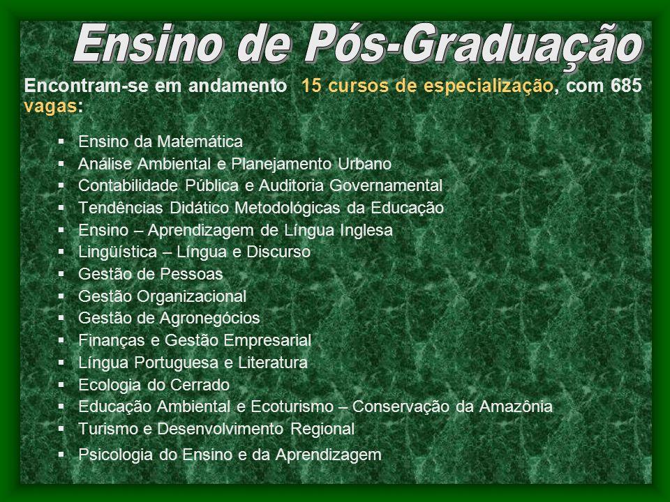 Encontram-se em andamento 15 cursos de especialização, com 685 vagas: Ensino da Matemática Análise Ambiental e Planejamento Urbano Contabilidade Públi