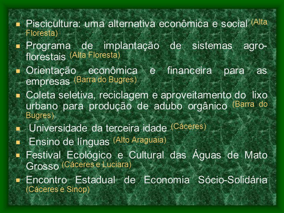Piscicultura: uma alternativa econômica e social (Alta Floresta) Programa de implantação de sistemas agro- florestais (Alta Floresta) Orientação econô