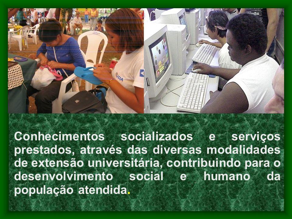 Conhecimentos socializados e serviços prestados, através das diversas modalidades de extensão universitária, contribuindo para o desenvolvimento socia