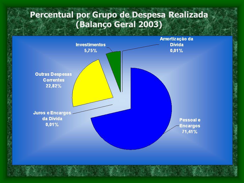 Percentual por Grupo de Despesa Realizada (Balanço Geral 2003)