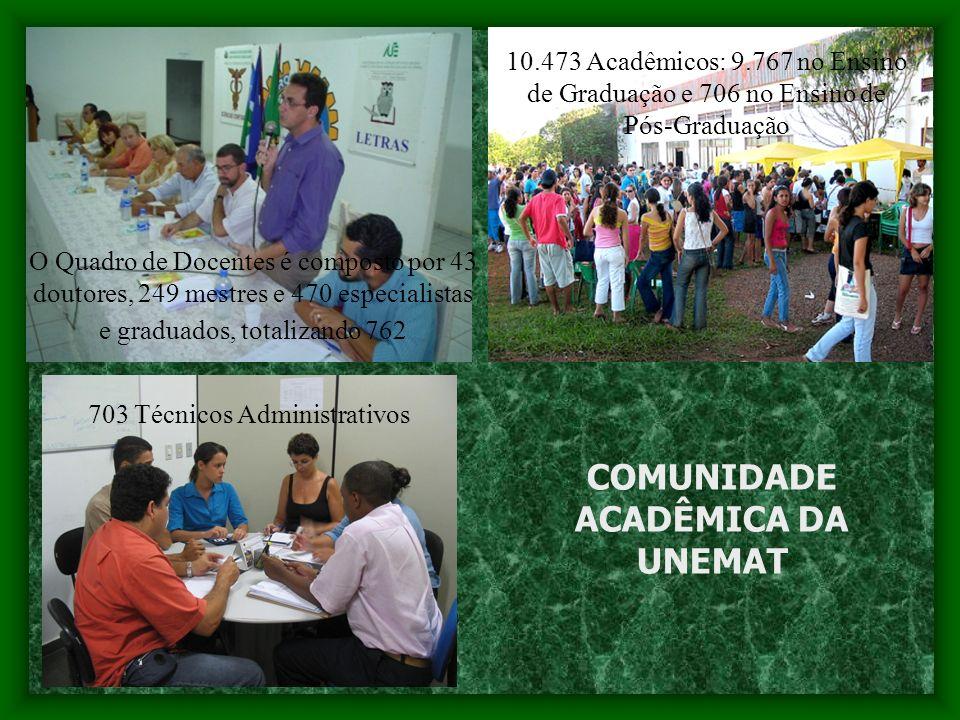 Nos 11 Campi Universitários e 11 Núcleos Pedagógicos da UNEMAT, são ofertados 74 cursos de graduação: 22 cursos de Bacharelados, 51 cursos de Licenciaturas Plenas e 01 de Bacharelado e Licenciatura.