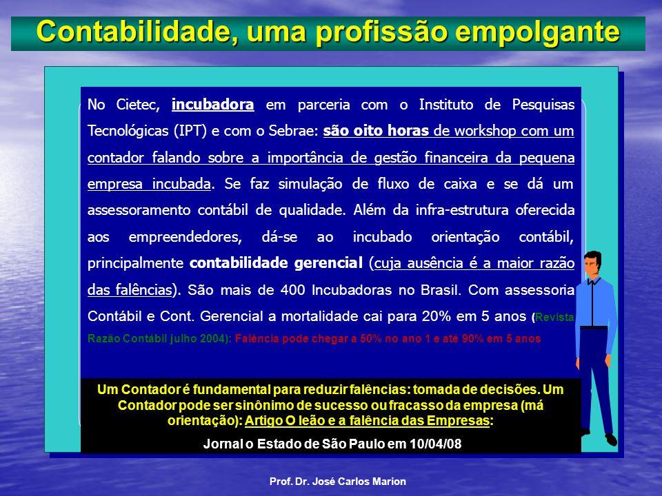 Prof. Dr. José Carlos Marion. A profissão contábil registra, atualmente, conforme o CFC quase 400 mil profissionais (incluindo os Técnicos de Contabil
