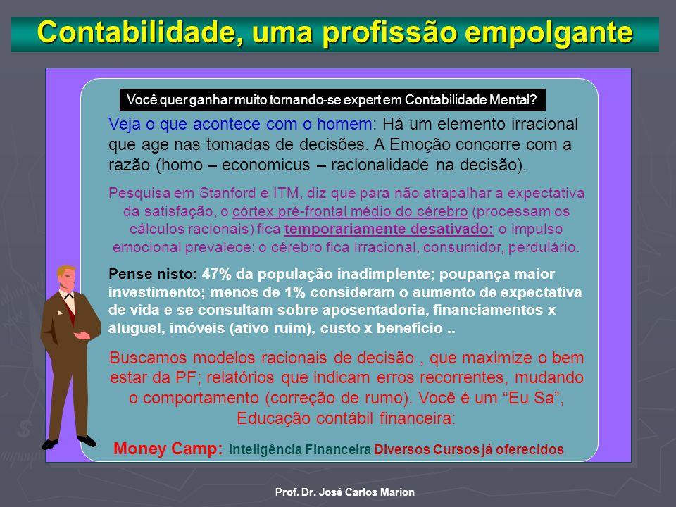 Prof. Dr. José Carlos Marion Contabilidade Mental, filão disputado por: Contabilidade, Economia (homo – economicus), Psicologia (psicologia econômica)