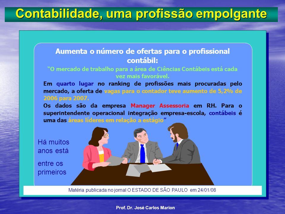 Prof. Dr. José Carlos Marion Contabilidade, uma profissão empolgante. Contábil Não há desemprego nesta profissão. Você nunca vai encontrar um bom prof