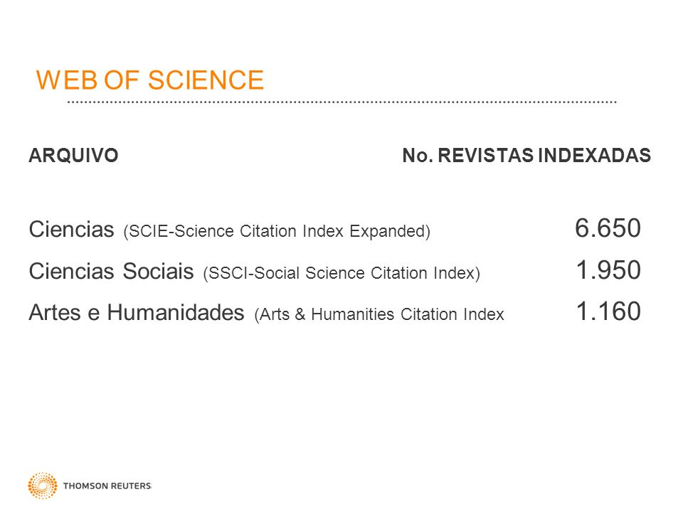 WEB OF SCIENCE ARQUIVO No. REVISTAS INDEXADAS Ciencias (SCIE-Science Citation Index Expanded) 6.650 Ciencias Sociais (SSCI-Social Science Citation Ind