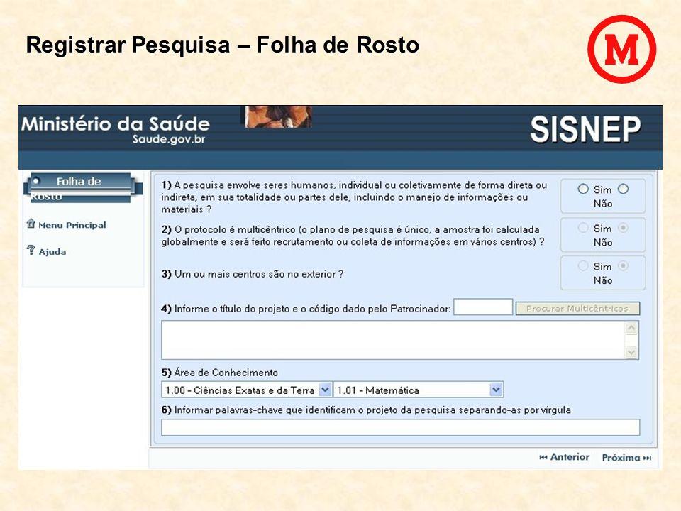Registrar Pesquisa – Folha de Rosto