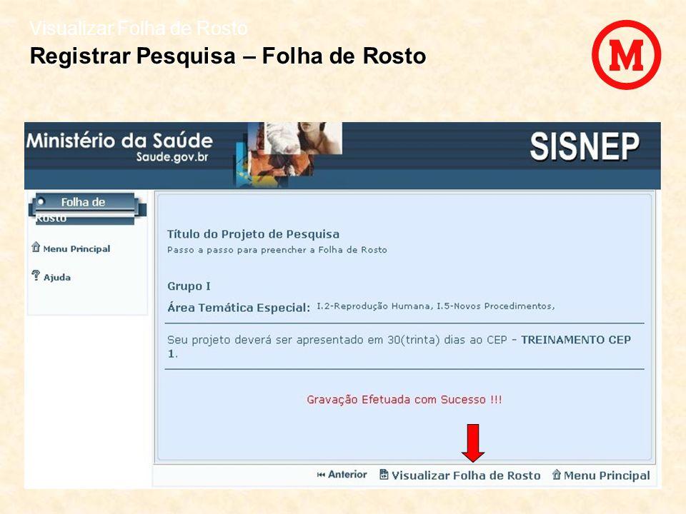 Visualizar Folha de Rosto Registrar Pesquisa – Folha de Rosto