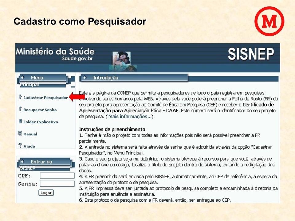 Gravar Projeto Registrar Pesquisa – Folha de Rosto