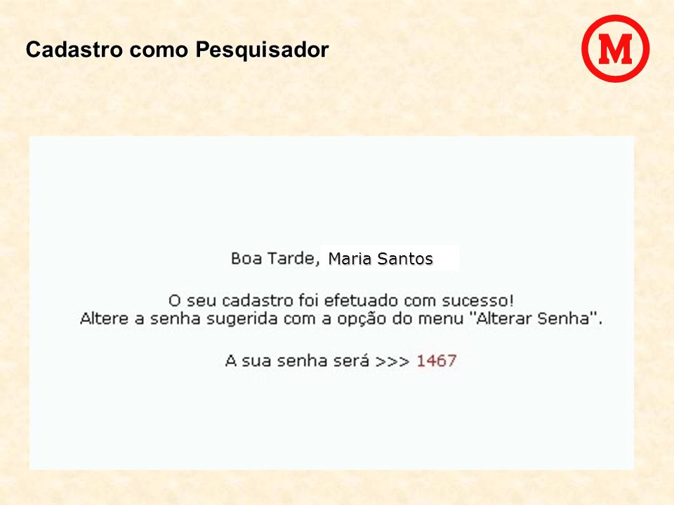 Maria Santos Cadastro como Pesquisador