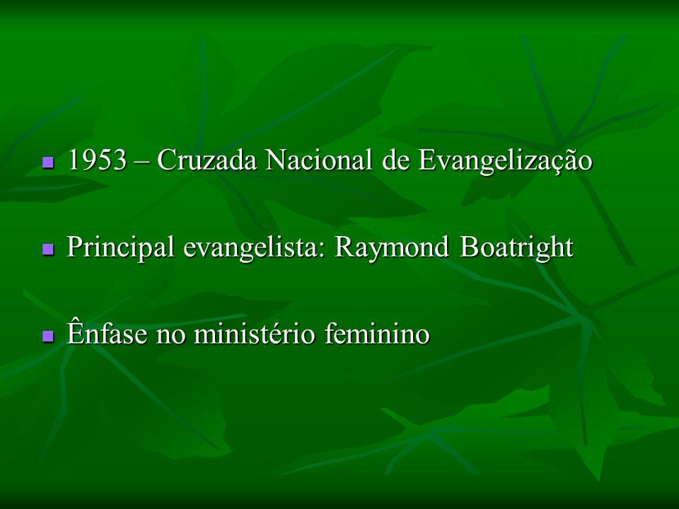 1953 – Cruzada Nacional de Evangelização 1953 – Cruzada Nacional de Evangelização Principal evangelista: Raymond Boatright Principal evangelista: Raym