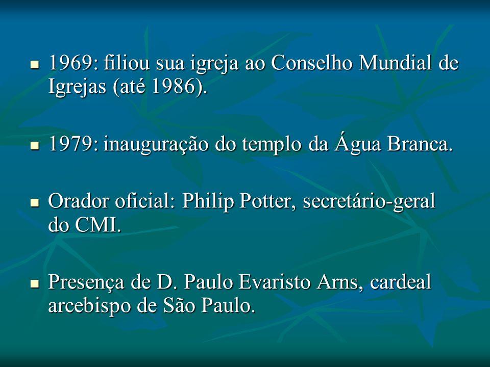 1969: filiou sua igreja ao Conselho Mundial de Igrejas (até 1986). 1969: filiou sua igreja ao Conselho Mundial de Igrejas (até 1986). 1979: inauguraçã