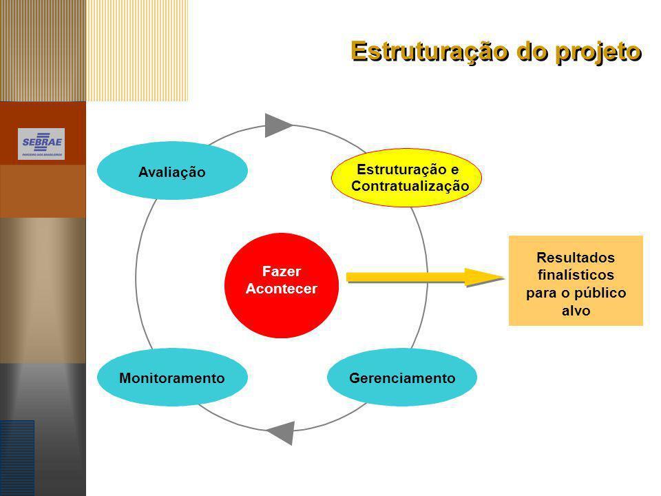 Estruturação do projeto Estruturação e Contratualização AvaliaçãoMonitoramentoGerenciamento Fazer Acontecer Resultados finalísticos para o público alv