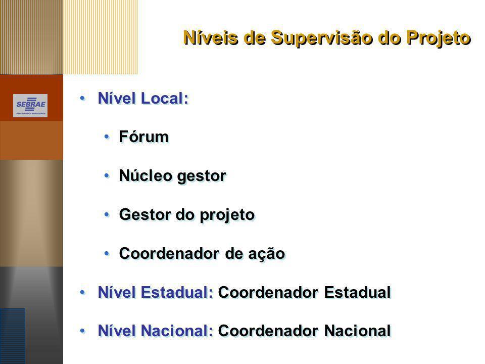 Níveis de Supervisão do Projeto Nível Local: Fórum Núcleo gestor Gestor do projeto Coordenador de ação Nível Estadual: Coordenador Estadual Nível Naci