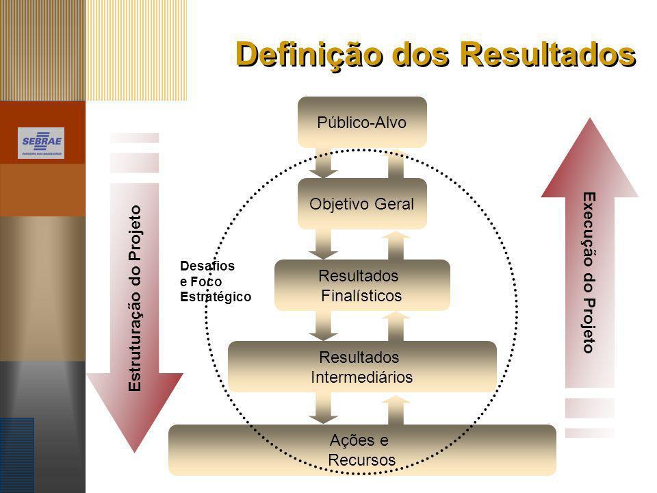 Definição dos Resultados Estruturação do Projeto Execução do Projeto Público-Alvo Objetivo Geral Resultados Finalísticos Resultados Intermediários Açõ