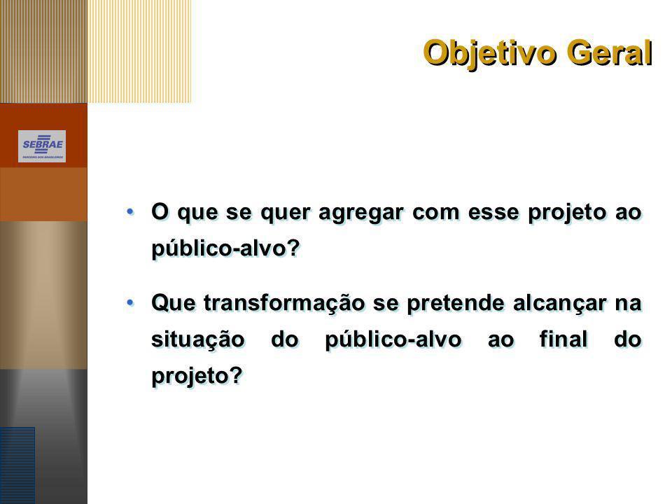 Objetivo Geral O que se quer agregar com esse projeto ao público-alvo? Que transformação se pretende alcançar na situação do público-alvo ao final do