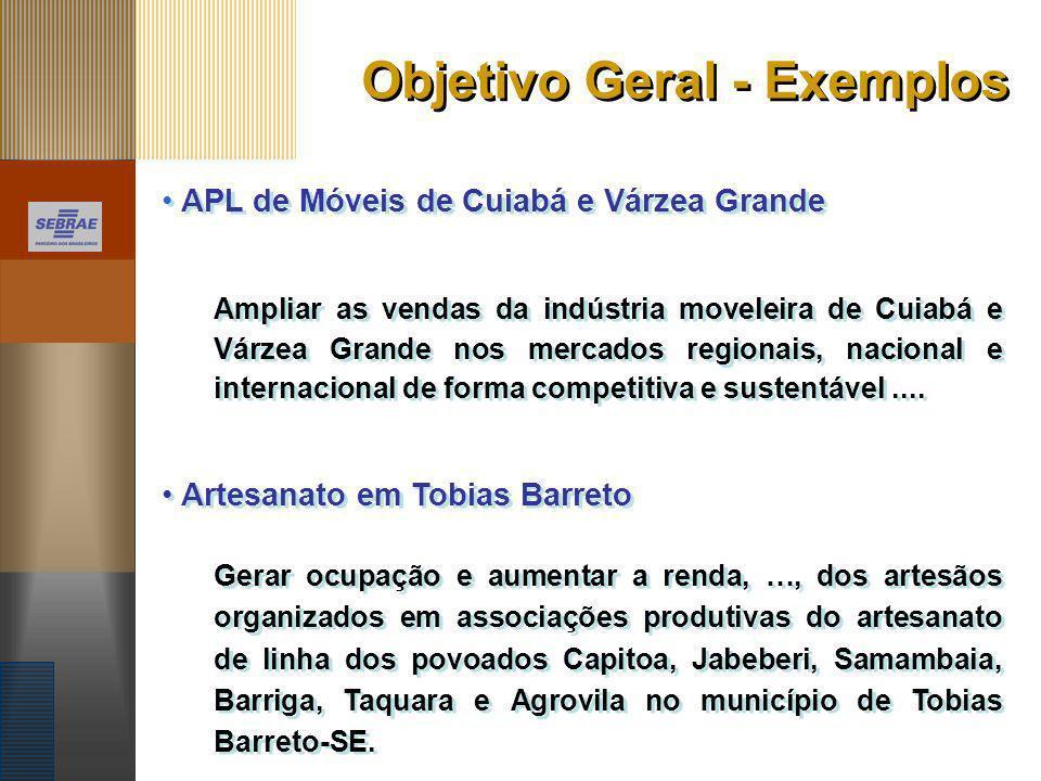 Objetivo Geral - Exemplos APL de Móveis de Cuiabá e Várzea Grande Ampliar as vendas da indústria moveleira de Cuiabá e Várzea Grande nos mercados regi