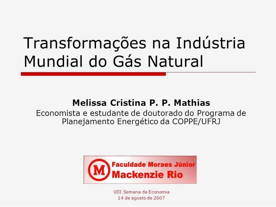 Transformações na Indústria Mundial do Gás Natural VIII Semana da Economia 14 de agosto de 2007 Melissa Cristina P. P. Mathias Economista e estudante