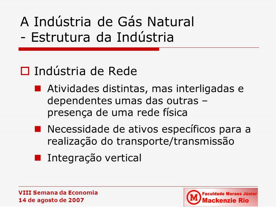 VIII Semana da Economia 14 de agosto de 2007 A Indústria de Gás Natural - Estrutura da Indústria Indústria de Rede Atividades distintas, mas interliga