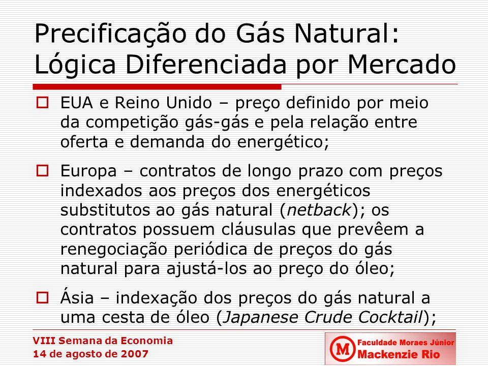 VIII Semana da Economia 14 de agosto de 2007 Precificação do Gás Natural: Lógica Diferenciada por Mercado EUA e Reino Unido – preço definido por meio