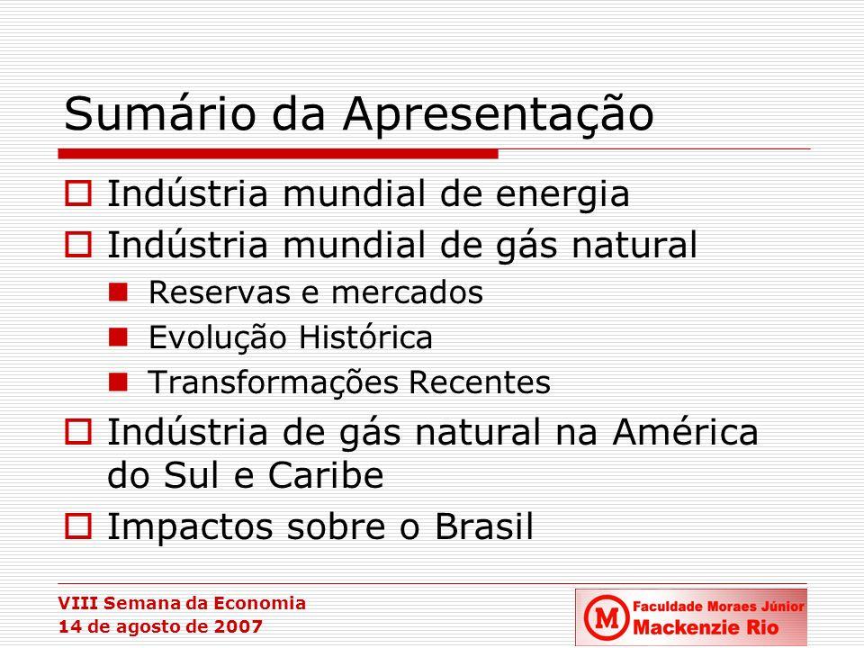 VIII Semana da Economia 14 de agosto de 2007 A Indústria de Gás Natural - Comércio Internacional: Perspectivas Posição estratégica do Oriente Médio e do Norte da África Fonte: Agência Internacional de Energia