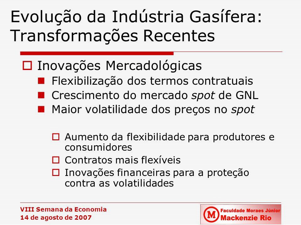 VIII Semana da Economia 14 de agosto de 2007 Evolução da Indústria Gasífera: Transformações Recentes Inovações Mercadológicas Flexibilização dos termo
