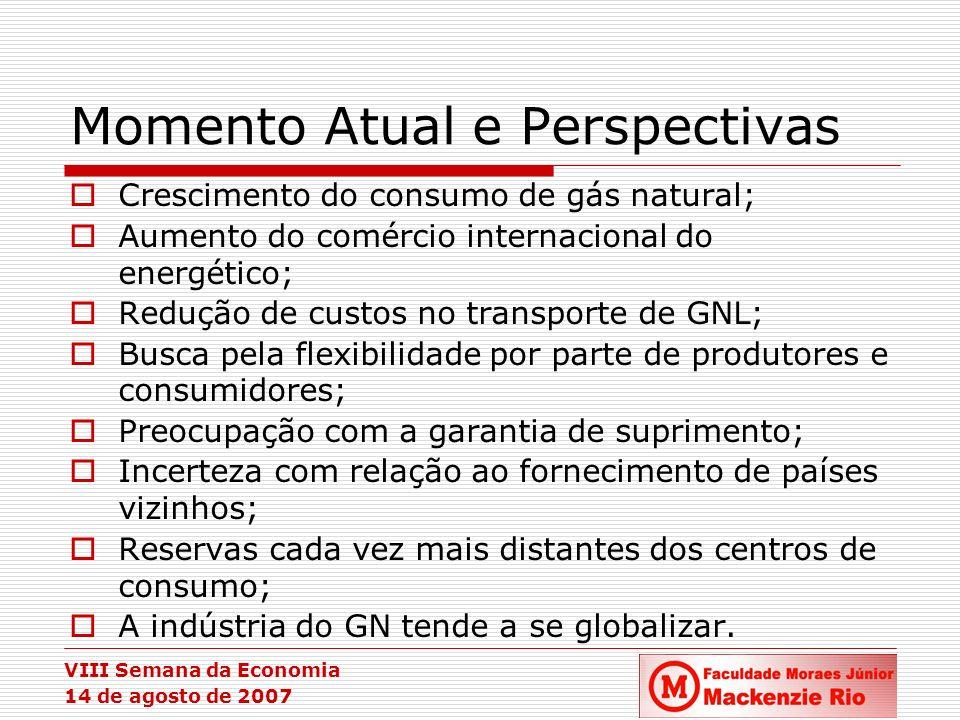 VIII Semana da Economia 14 de agosto de 2007 Momento Atual e Perspectivas Crescimento do consumo de gás natural; Aumento do comércio internacional do