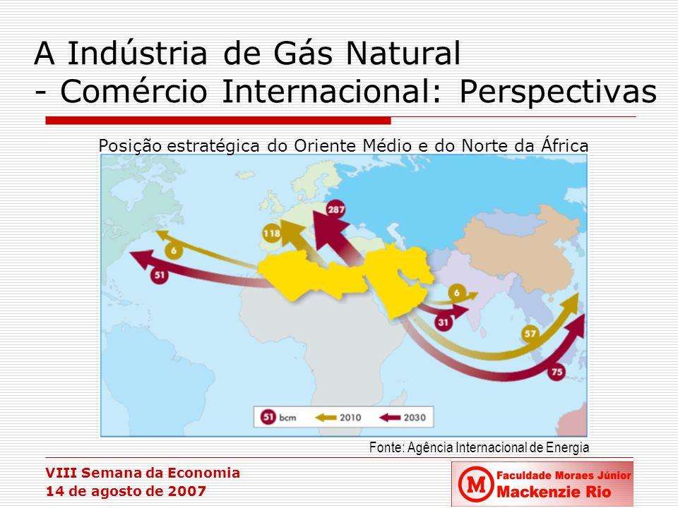 VIII Semana da Economia 14 de agosto de 2007 A Indústria de Gás Natural - Comércio Internacional: Perspectivas Posição estratégica do Oriente Médio e