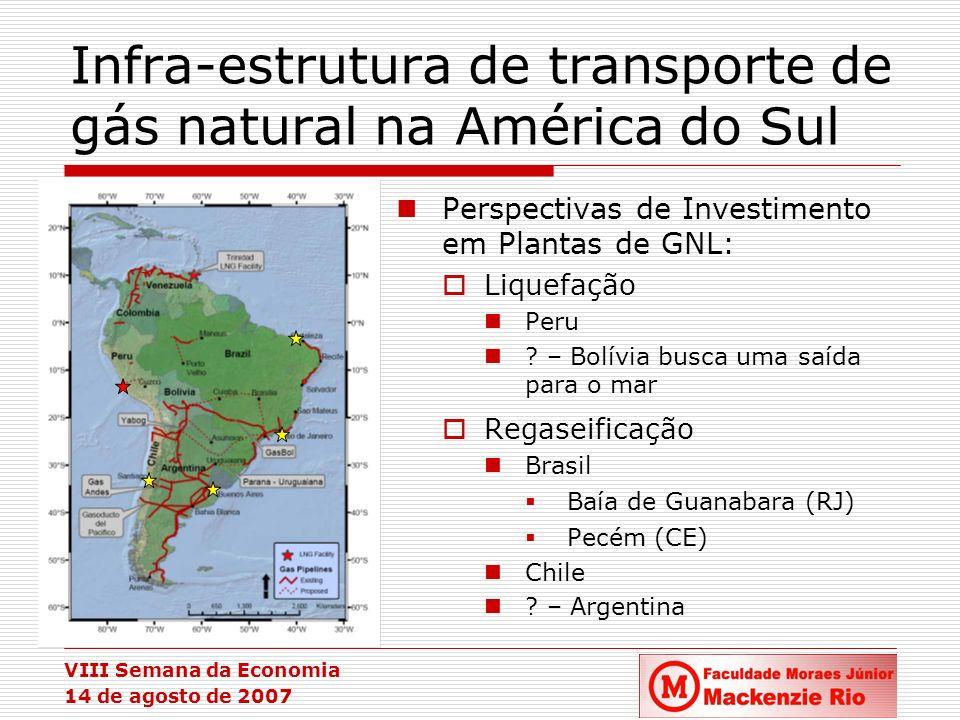 VIII Semana da Economia 14 de agosto de 2007 Infra-estrutura de transporte de gás natural na América do Sul Fonte: IEA Perspectivas de Investimento em