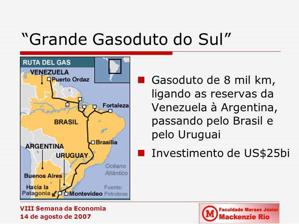 VIII Semana da Economia 14 de agosto de 2007 Grande Gasoduto do Sul Gasoduto de 8 mil km, ligando as reservas da Venezuela à Argentina, passando pelo
