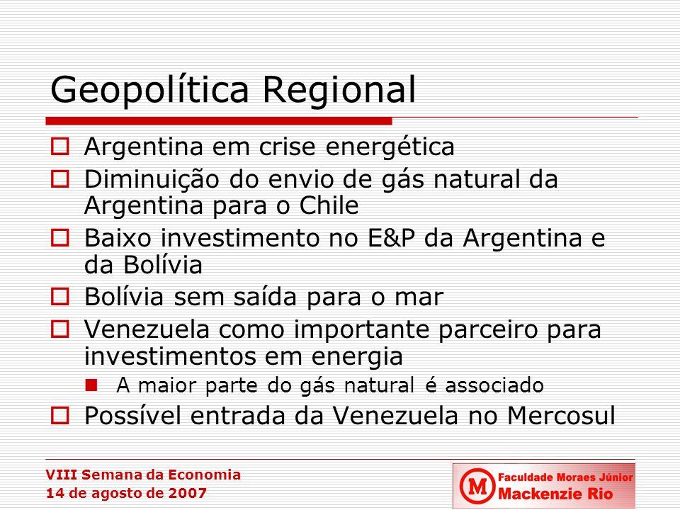 VIII Semana da Economia 14 de agosto de 2007 Geopolítica Regional Argentina em crise energética Diminuição do envio de gás natural da Argentina para o