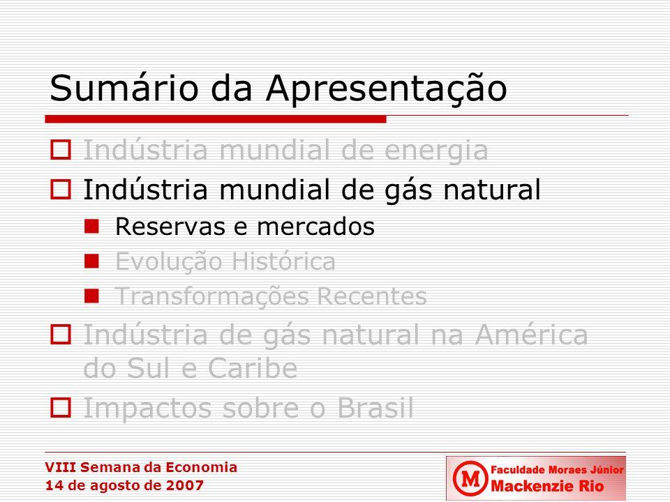VIII Semana da Economia 14 de agosto de 2007 A Indústria de Gás Natural - Reservas Dispersão desigual das reservas Concentração das reservas no Oriente Médio e na Rússia.