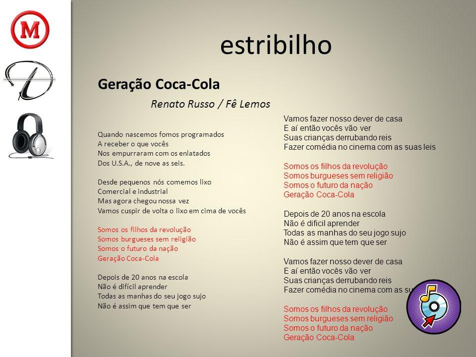 estribilho Geração Coca-Cola Renato Russo / Fê Lemos Quando nascemos fomos programados A receber o que vocês Nos empurraram com os enlatados Dos U.S.A., de nove as seis.
