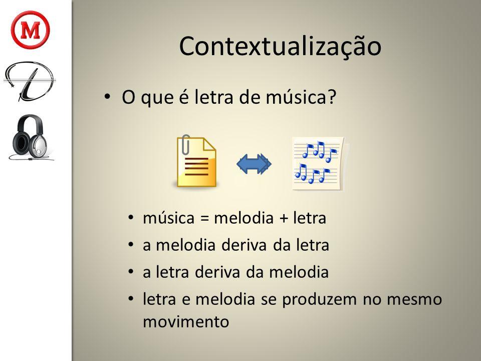 Contextualização O que é letra de música? música = melodia + letra a melodia deriva da letra a letra deriva da melodia letra e melodia se produzem no