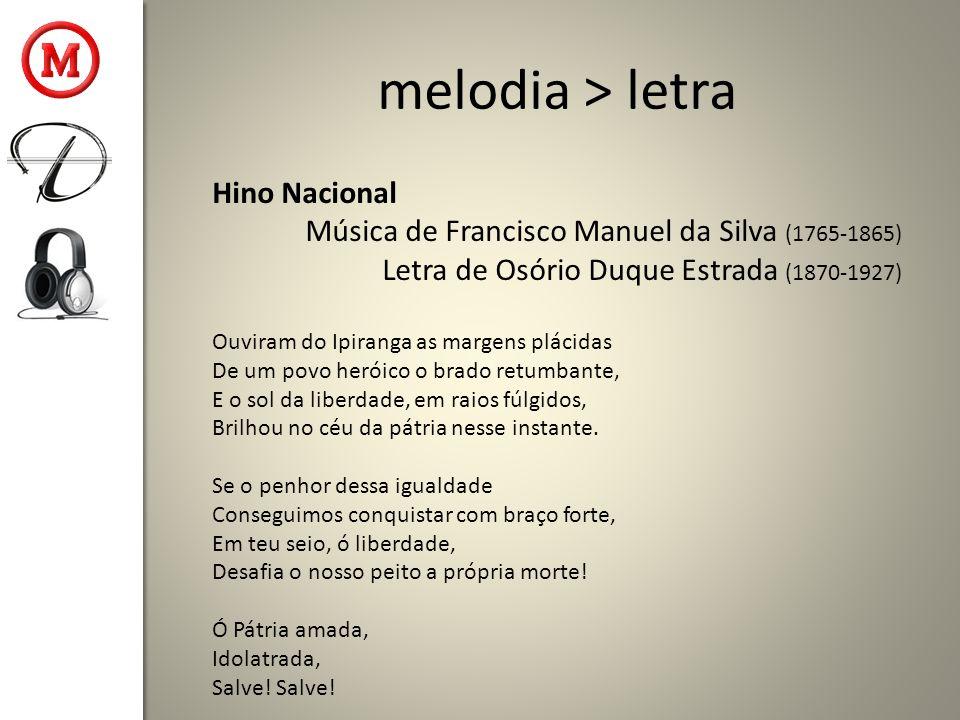 melodia > letra Hino Nacional Música de Francisco Manuel da Silva (1765-1865) Letra de Osório Duque Estrada (1870-1927) Ouviram do Ipiranga as margens plácidas De um povo heróico o brado retumbante, E o sol da liberdade, em raios fúlgidos, Brilhou no céu da pátria nesse instante.