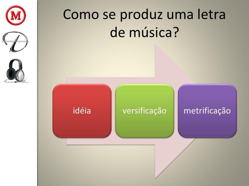 Como se produz uma letra de música? idéiaversificaçãometrificação