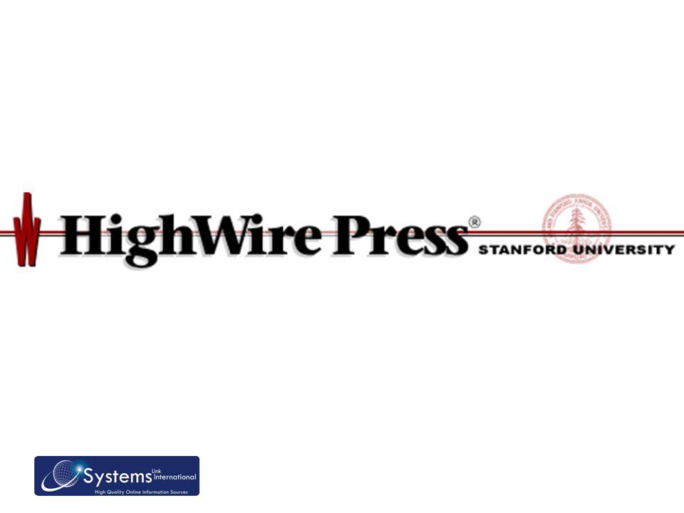 Sobre a High Wire Uma divisão das bibliotecas da Universidade de Stanford (LA-CA) Iniciou em 1995 com a missão de ajudar editores sem fins lucrativos a emergir na Internet, não são os donos dos artigos Um membro ativo na comunidade acadêmica, ajudando no desenvolvimento das pesquisas