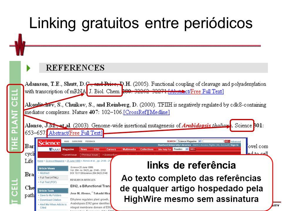Linking gratuitos entre periódicos links de referência Ao texto completo das referências de qualquer artigo hospedado pela HighWire mesmo sem assinatura