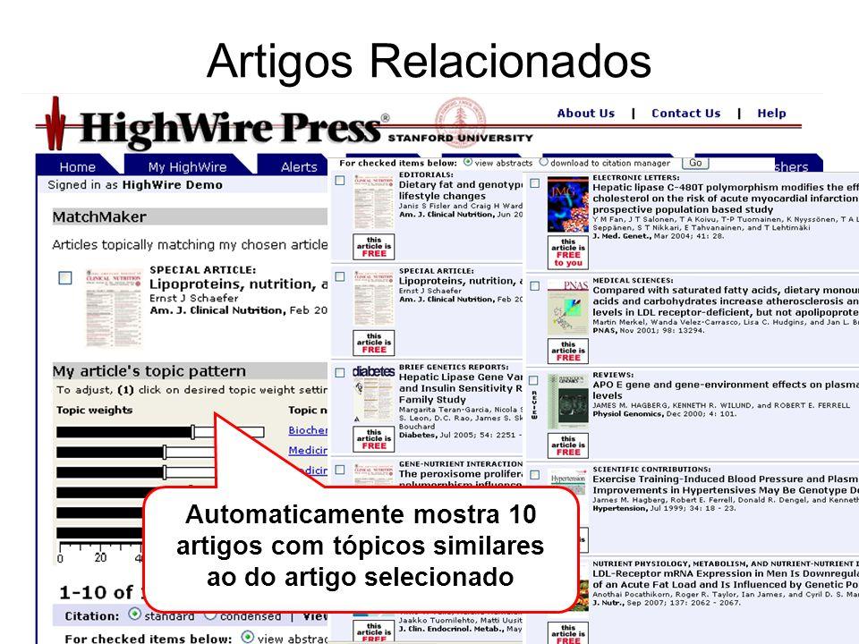 Artigos Relacionados Automaticamente mostra 10 artigos com tópicos similares ao do artigo selecionado