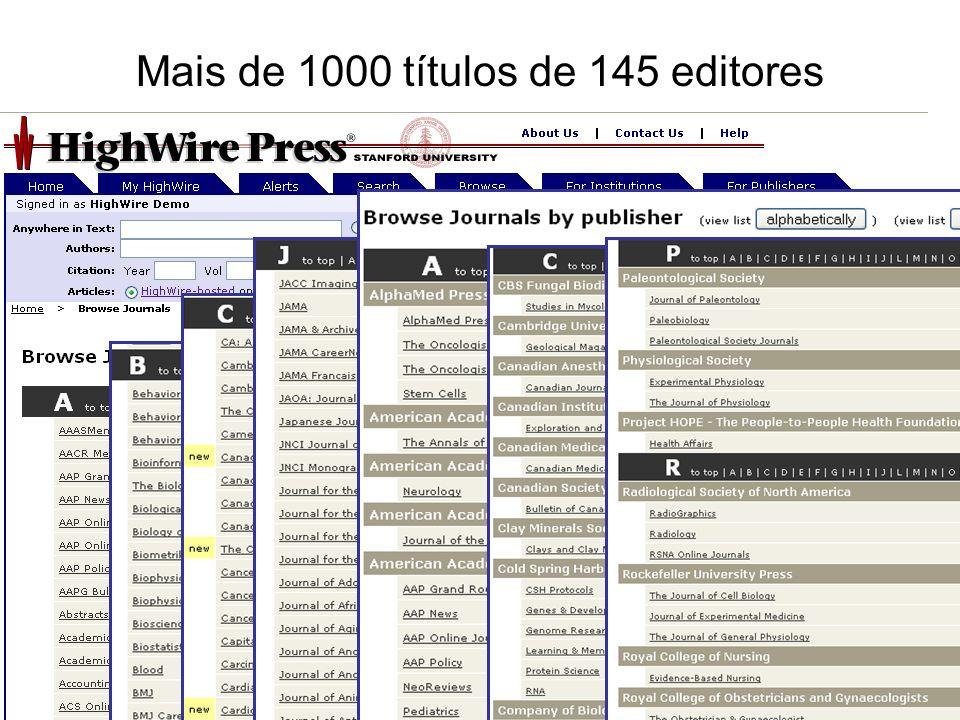 Mais de 1000 títulos de 145 editores