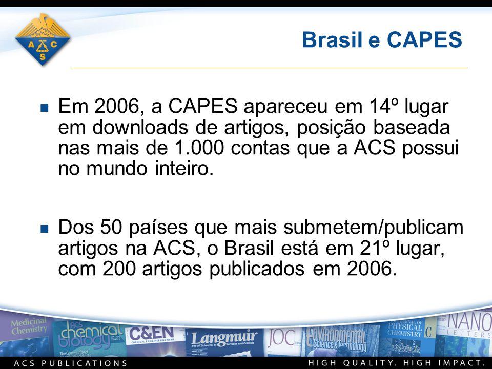 Brasil e CAPES n Em 2006, a CAPES apareceu em 14º lugar em downloads de artigos, posição baseada nas mais de 1.000 contas que a ACS possui no mundo inteiro.