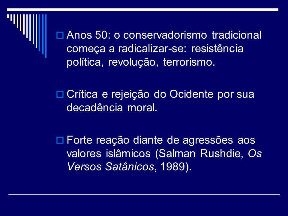 Anos 50: o conservadorismo tradicional começa a radicalizar-se: resistência política, revolução, terrorismo. Crítica e rejeição do Ocidente por sua de
