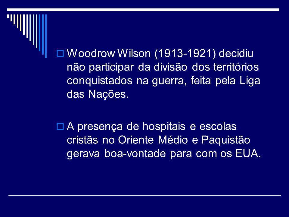 Woodrow Wilson (1913-1921) decidiu não participar da divisão dos territórios conquistados na guerra, feita pela Liga das Nações. A presença de hospita