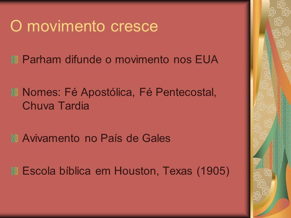 O movimento cresce Parham difunde o movimento nos EUA Nomes: Fé Apostólica, Fé Pentecostal, Chuva Tardia Avivamento no País de Gales Escola bíblica em
