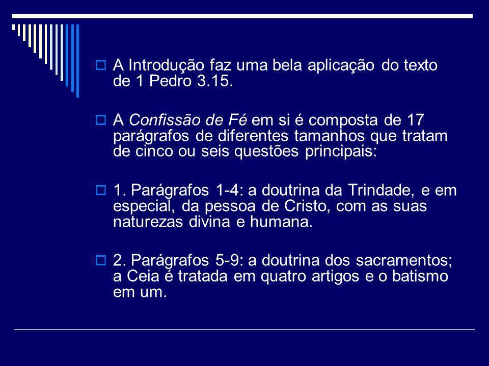 A Introdução faz uma bela aplicação do texto de 1 Pedro 3.15. A Confissão de Fé em si é composta de 17 parágrafos de diferentes tamanhos que tratam de