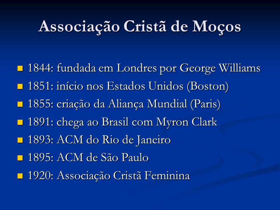 Associação Cristã de Moços 1844: fundada em Londres por George Williams 1844: fundada em Londres por George Williams 1851: início nos Estados Unidos (