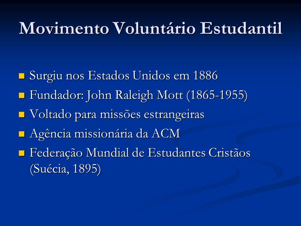 Movimento Voluntário Estudantil Surgiu nos Estados Unidos em 1886 Surgiu nos Estados Unidos em 1886 Fundador: John Raleigh Mott (1865-1955) Fundador: