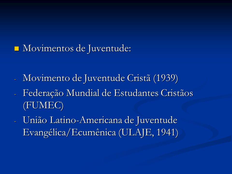 Movimentos de Juventude: Movimentos de Juventude: - Movimento de Juventude Cristã (1939) - Federação Mundial de Estudantes Cristãos (FUMEC) - União La