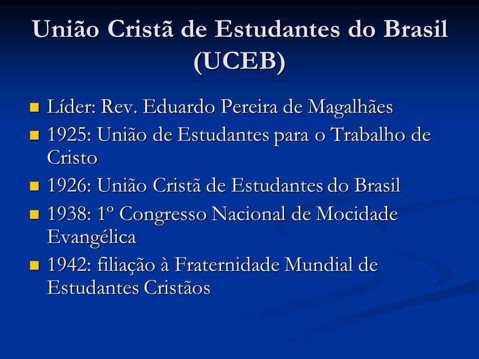 União Cristã de Estudantes do Brasil (UCEB) Líder: Rev. Eduardo Pereira de Magalhães Líder: Rev. Eduardo Pereira de Magalhães 1925: União de Estudante