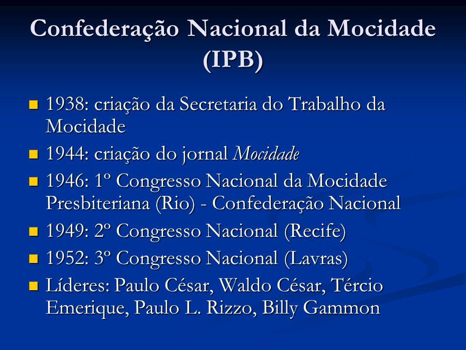 Confederação Nacional da Mocidade (IPB) 1938: criação da Secretaria do Trabalho da Mocidade 1938: criação da Secretaria do Trabalho da Mocidade 1944: