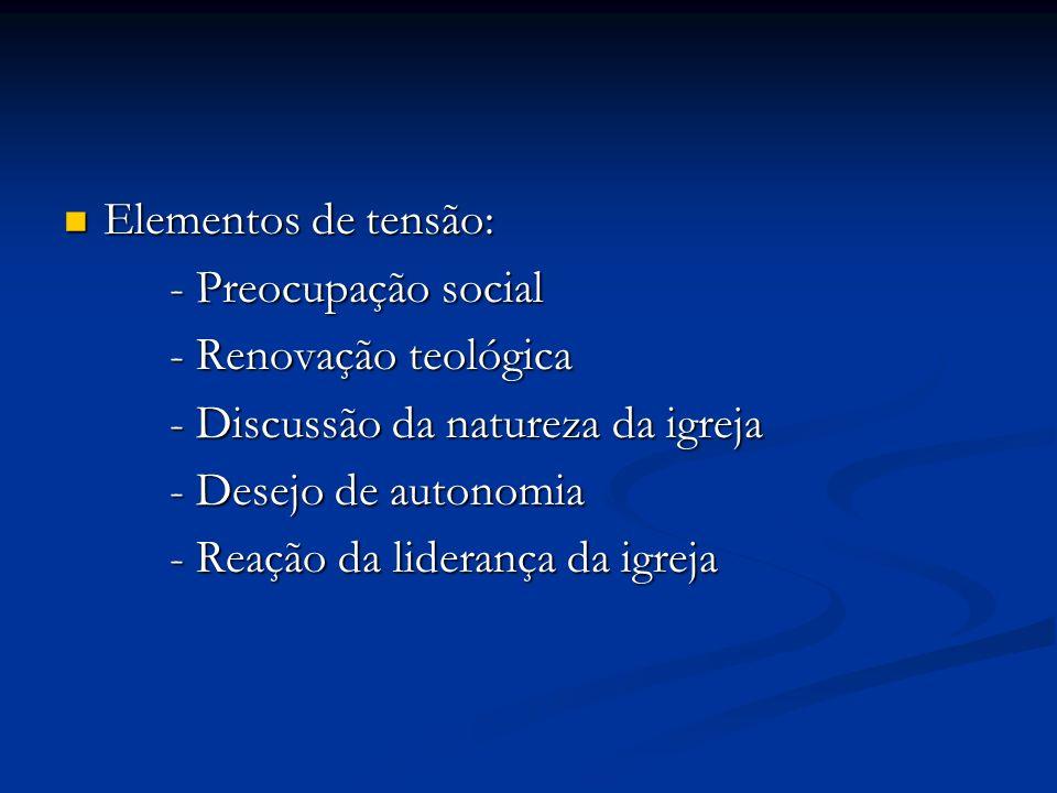 Elementos de tensão: Elementos de tensão: - Preocupação social - Renovação teológica - Discussão da natureza da igreja - Desejo de autonomia - Reação